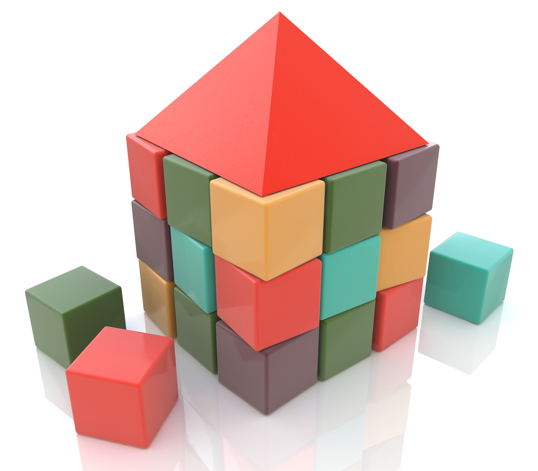 Abstract house made of children blocks 3d in the design of the information required to design structures